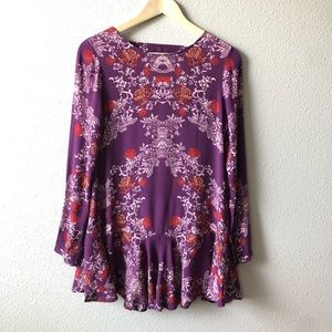 Free People Floral Long Sleeve Cut Out Back Dress